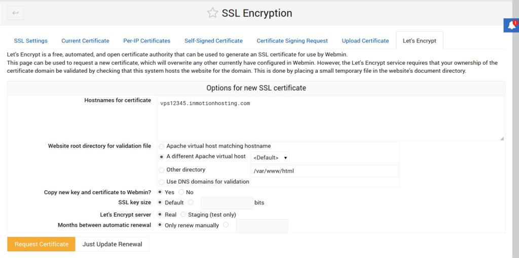 Creating a Let's Encrypt SSL in Webmin