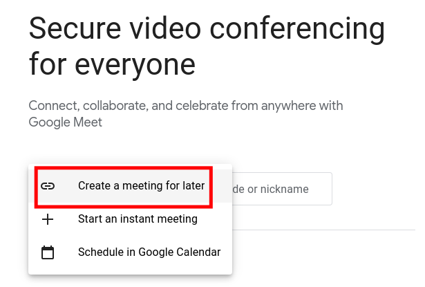 Creating a Meeting for Later