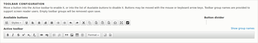 Drupal CKEditor toolbar configuration