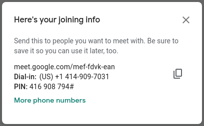 Info for Joining a Google Meeting