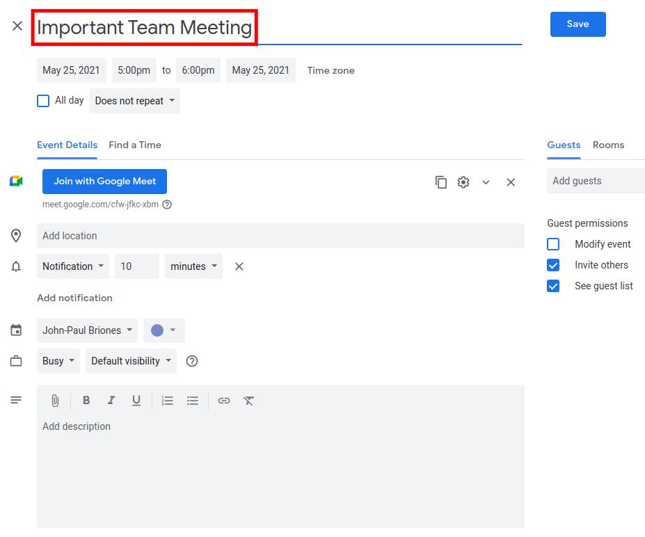 How to Schedule a Google Meet - Enter Title