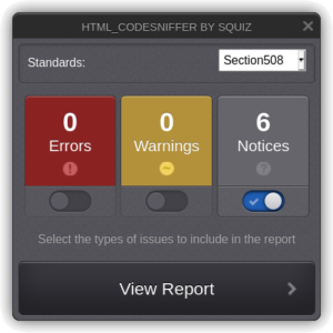 HTML Codesniffer by Squiz in Drupal
