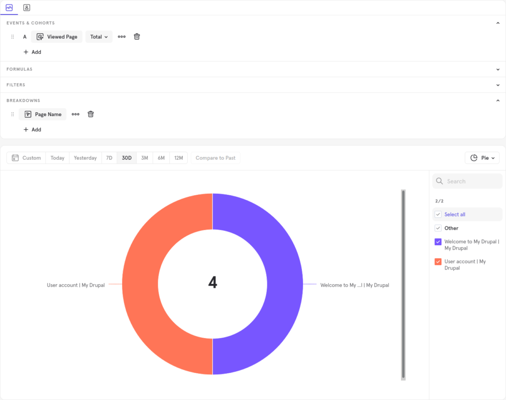 Mixpanel viewed page and page name insights
