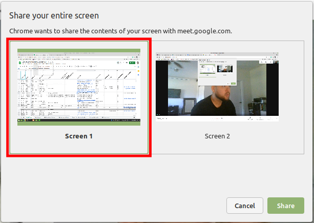 Choose the Screen you want to Share on Google Meet
