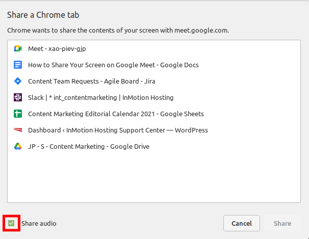 Choose if You Want to Share Audio on Google Meet