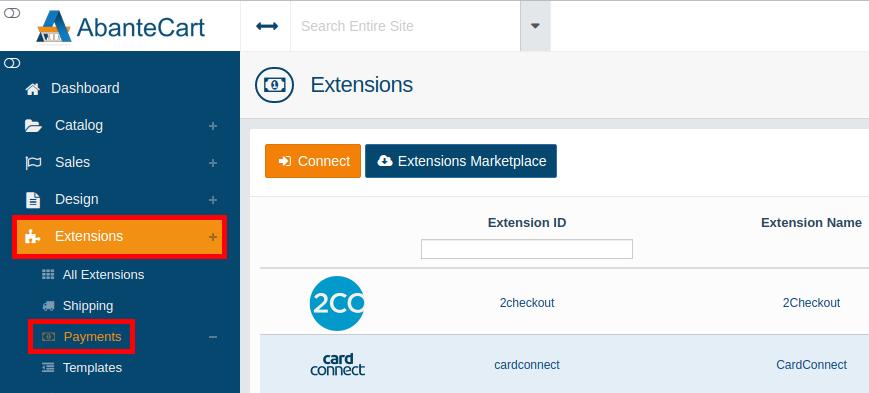 Accessing AbanteCart Payment Gateway Extensions