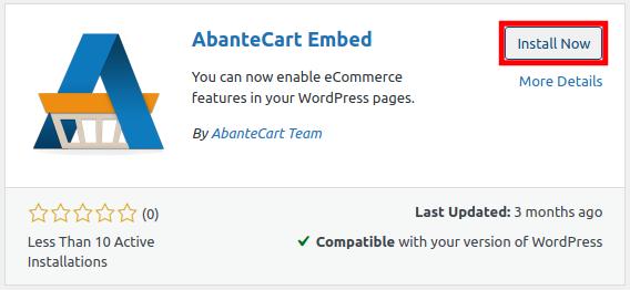 Install AbanteCart Embed Plugin for WordPress