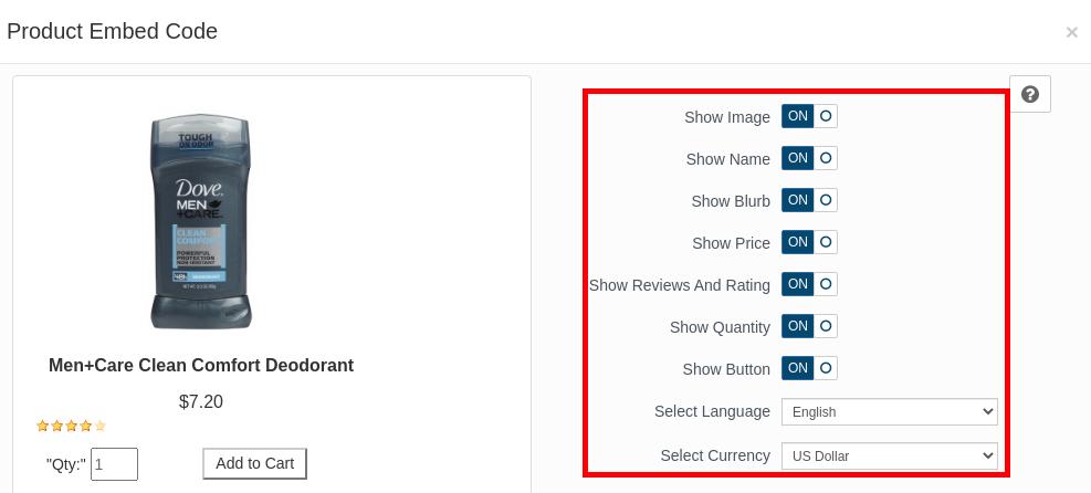 Select Embed Settings