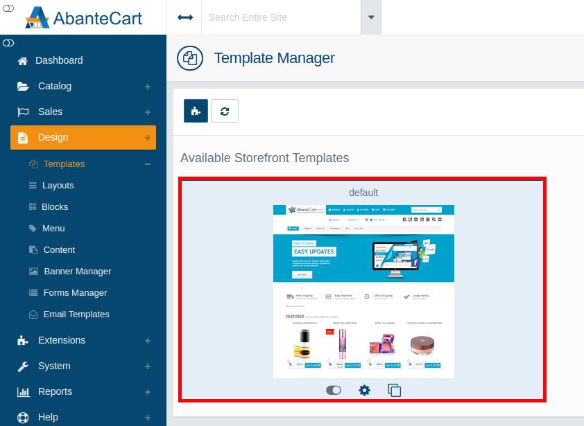 Selecting Your Default AbanteCart Logo Template