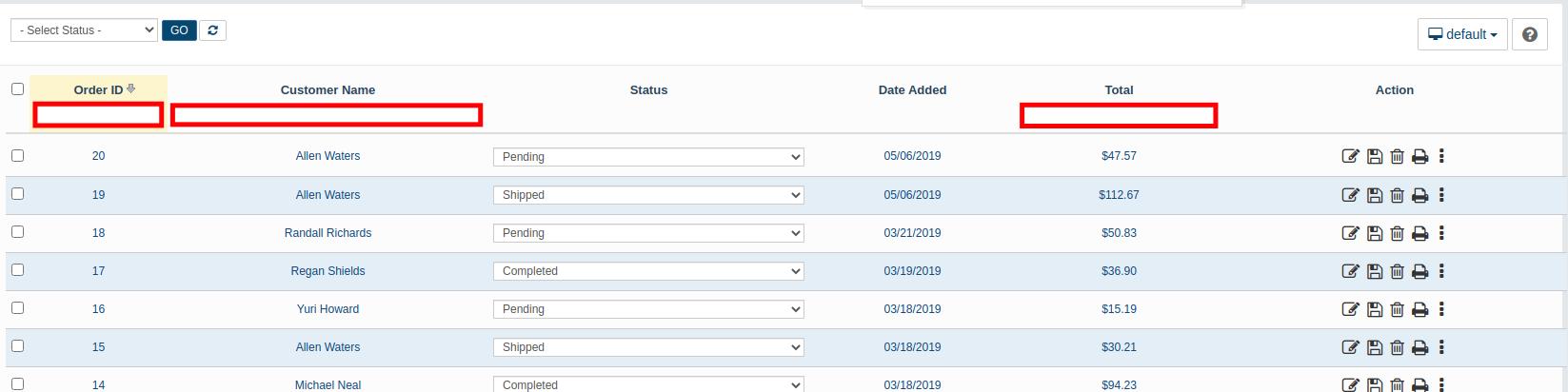 Searching AbanteCart Orders