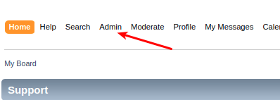 A menu where the clickable link Admin is pressed
