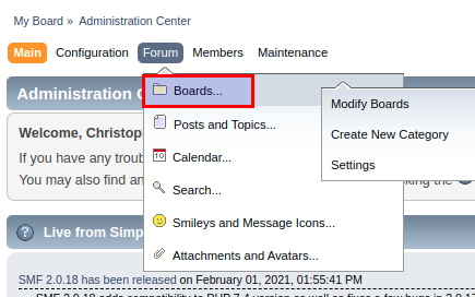 A clickable area to enter the Forum section of your SMF admin area