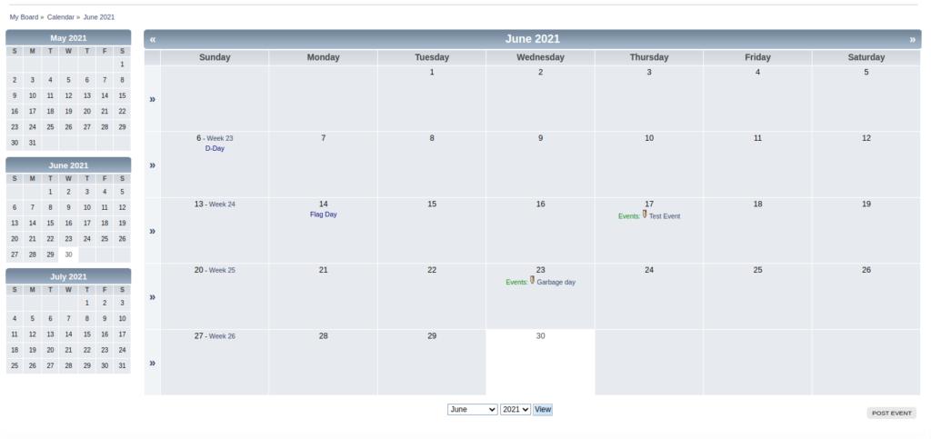 The SMF calendar view