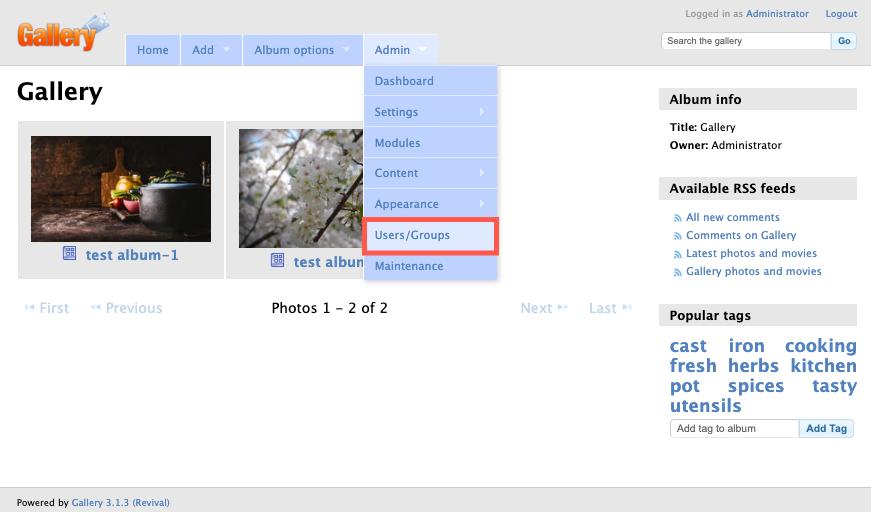 Select Users/Groups menu option