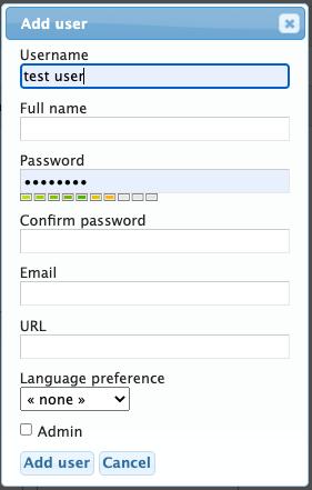 Add New User dialog box