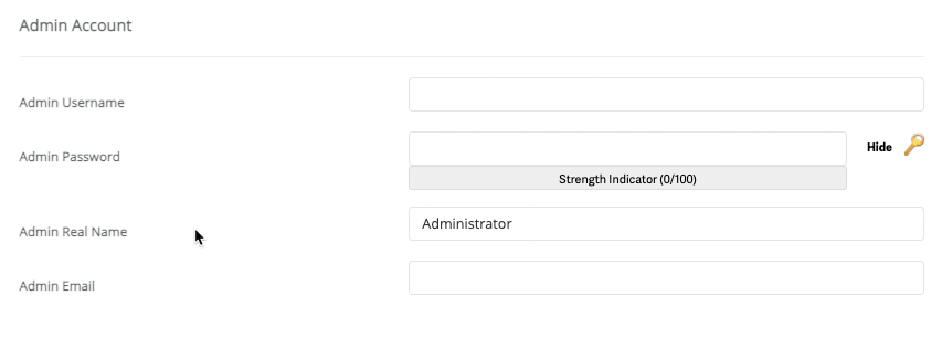 Admin account info - Gallery setup