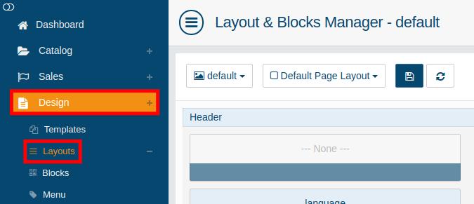 Accessing the design layouts menu in AbanteCart
