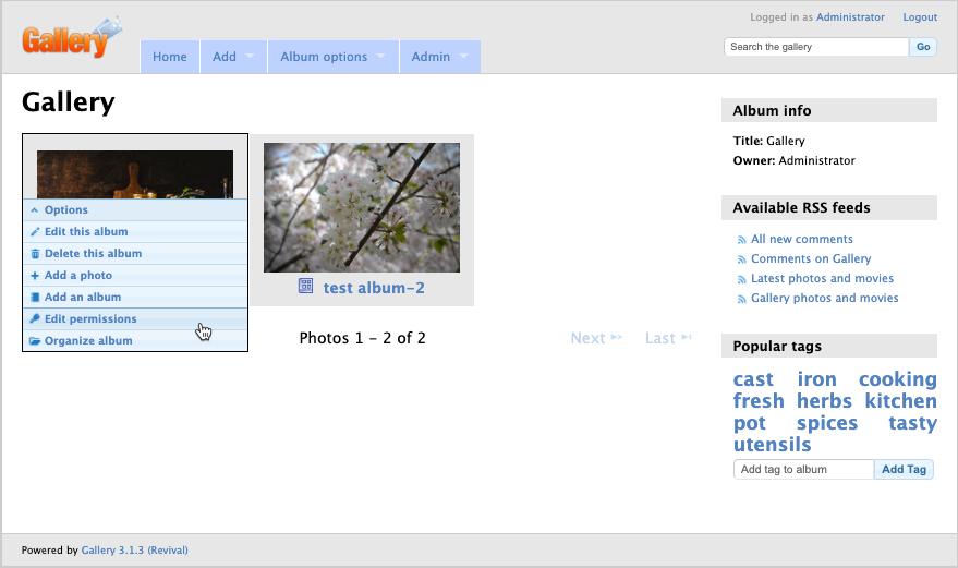 Edit permissions on album cover image
