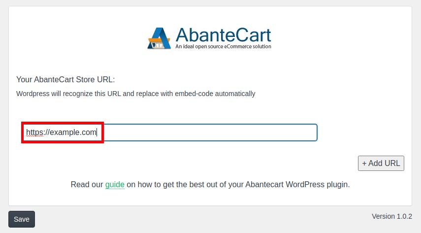 Adding AbanteCart URL to WordPress Embed plugin