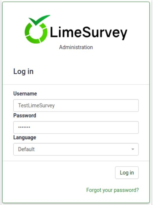 Sign in to your account using your LimeSurvey login credentials