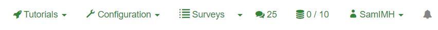 The LimeSurvey Toolbar contains seven clickable options.