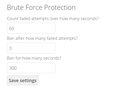 ownCloud Brute-Force Protection settings
