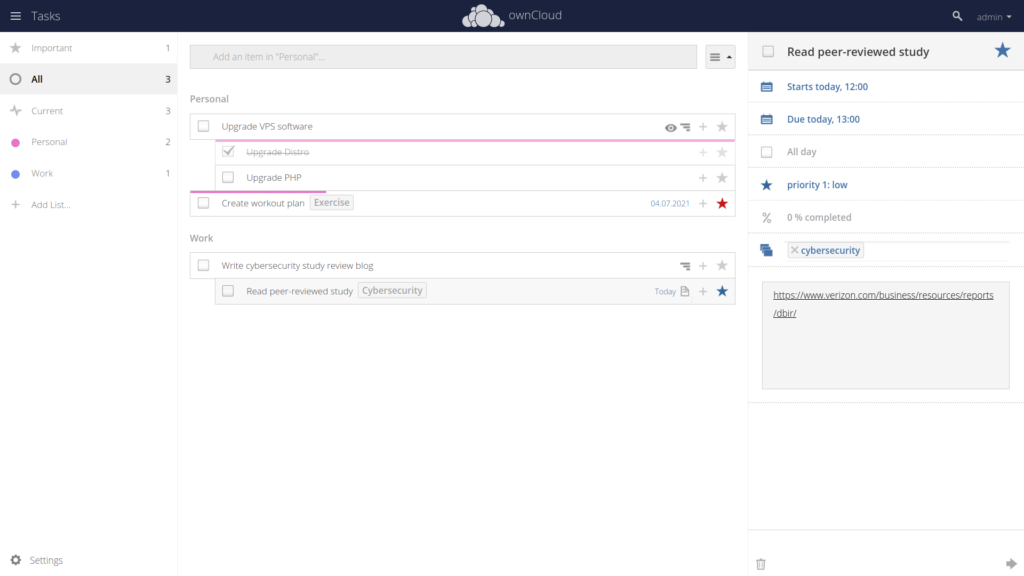 ownCloud Tasks example