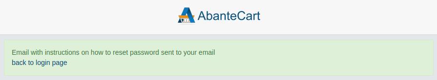 AbanteCart Admin Password Email Sent