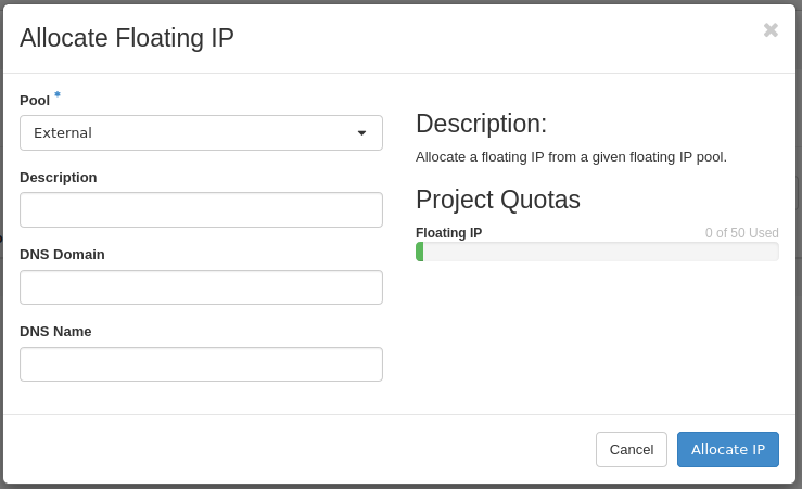 um allocate floating ip