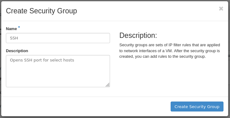 um create security group form