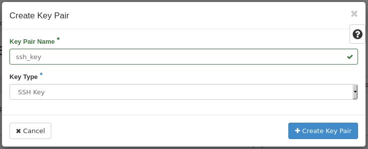 um create ssh keypair form