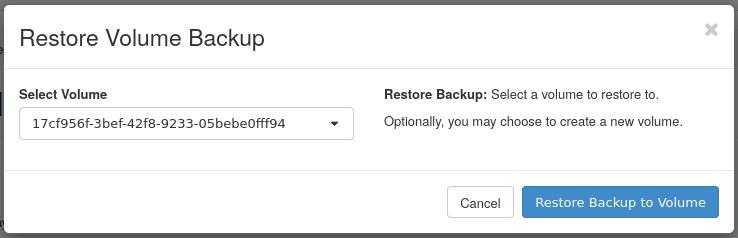 um restore volume backup