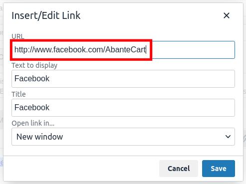 Setup Social Icons in AbanteCart -  Edit Links