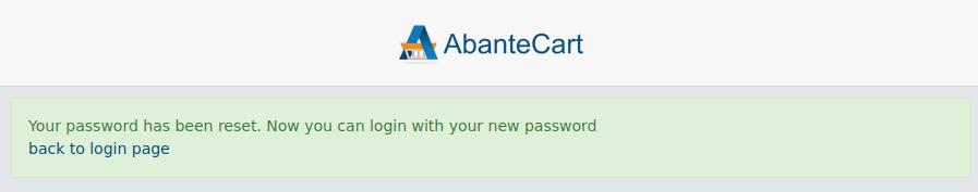 AbanteCart Admin Password has Been Reset