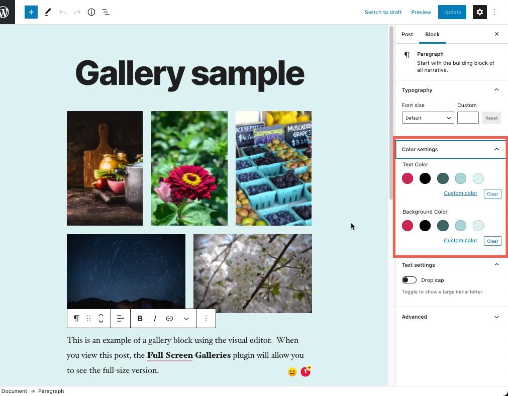 WordPress 5.7 paragraph color options