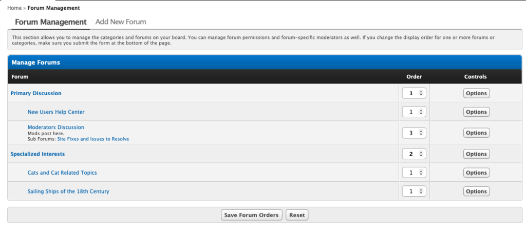 MyBB Forum Management Tab