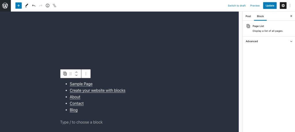 Page list block