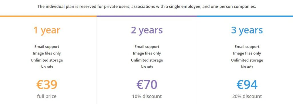 All individual Piwigo plans offer email support, image files only, unlimited storage, and no ads. The only difference between them is the length of the plan and the pricing.