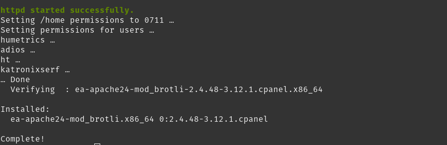 brotil installed with ssh