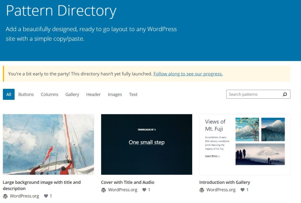 The Pattern Directory is a publicly viewable site where users can view, copy, and use user-submitted block patterns.