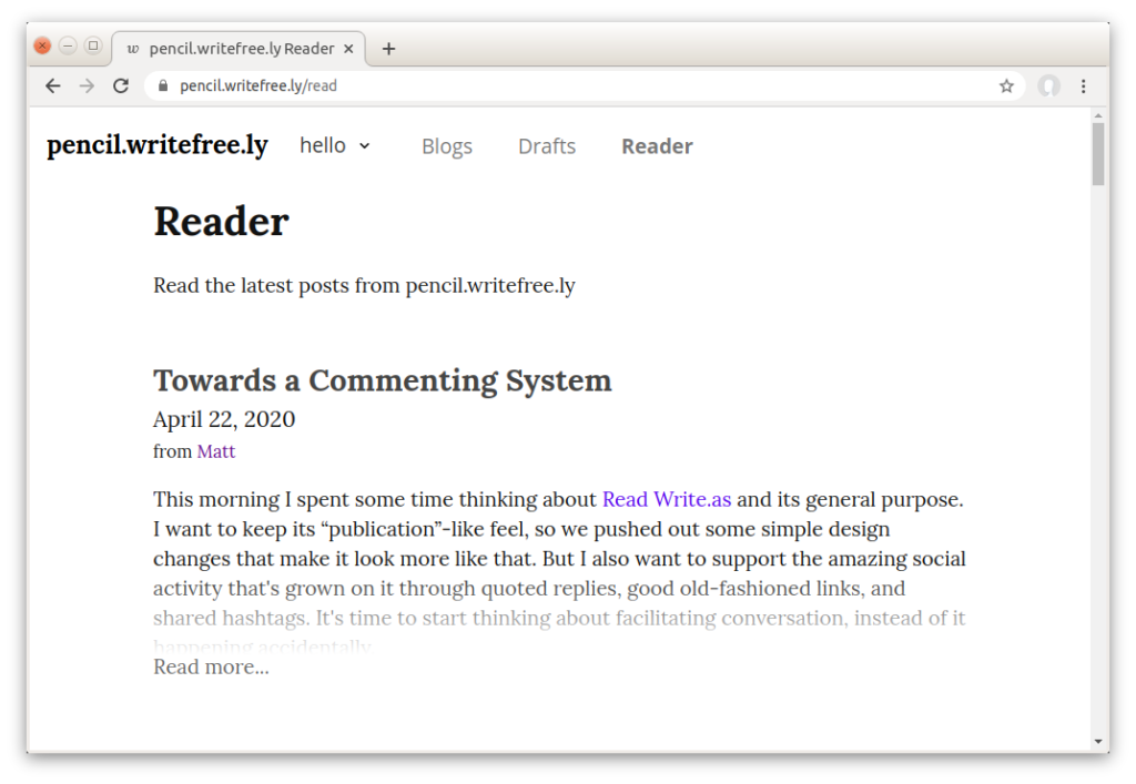 write freely front end