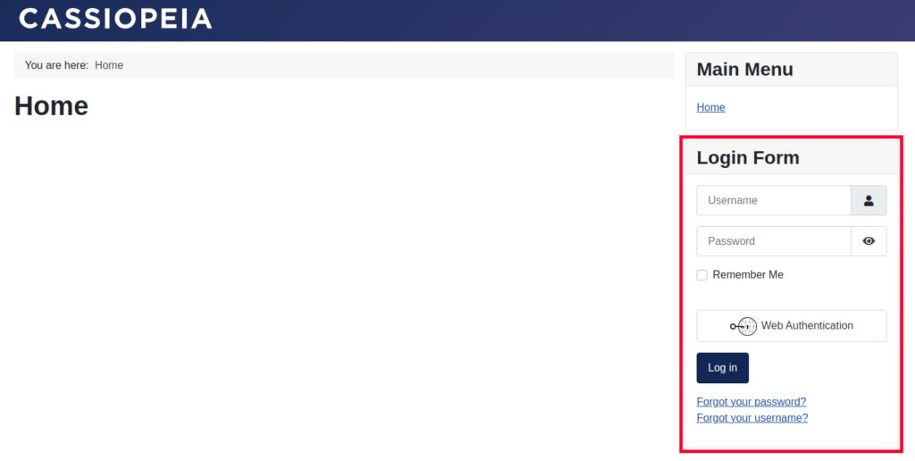 Remove Login Form Module - View of New Joomla Site