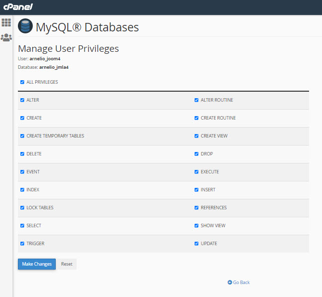 Add user db privileges