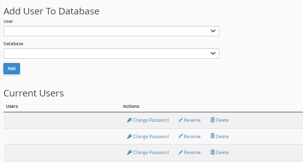 Add User to database in cPanel