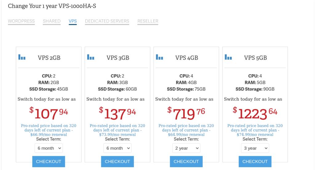 change hosting plan vps 1