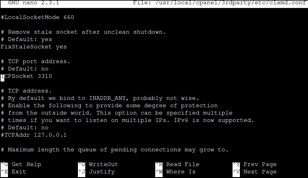 Clamd configuration file