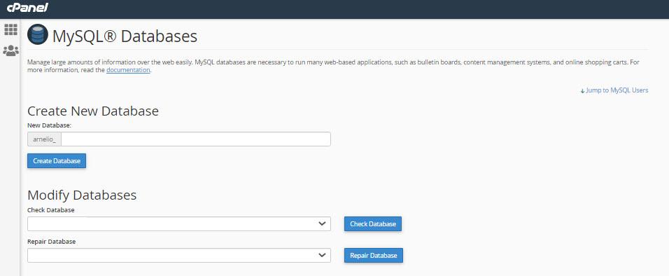 Create database in cPanel