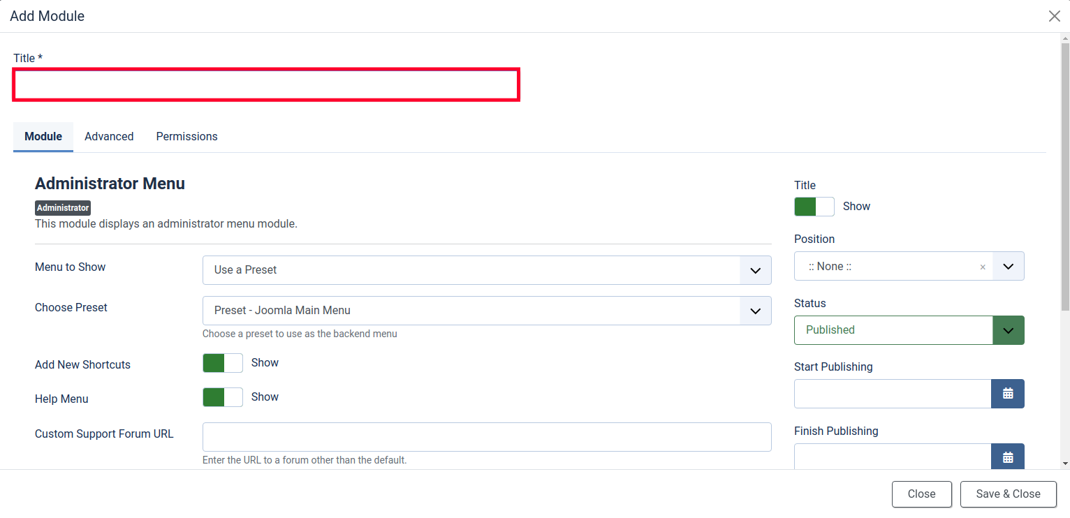 Enter a Title for your New Joomla Dashboard Module