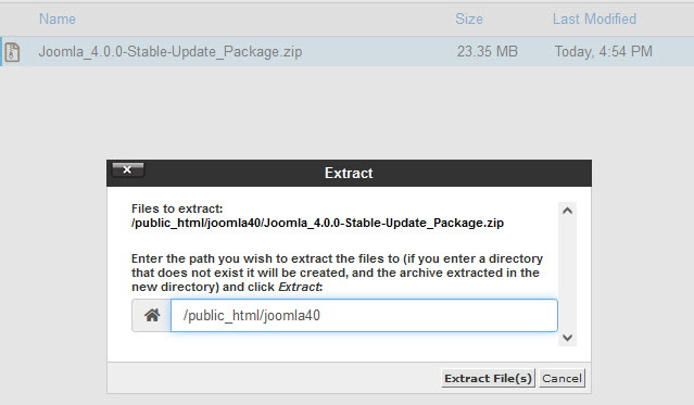 Extract uploaded install file in folder