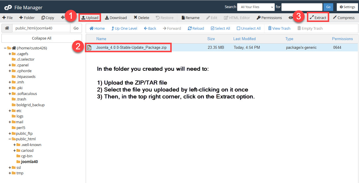 select subfolder and upload install file